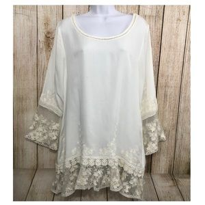 Sundance Tunic Ivory Embroidered Mesh Lace Boho